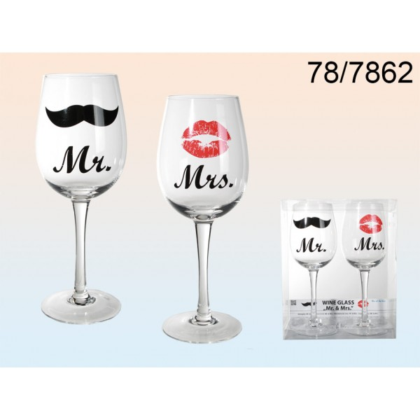 Wine glass with Kiss and Moustache