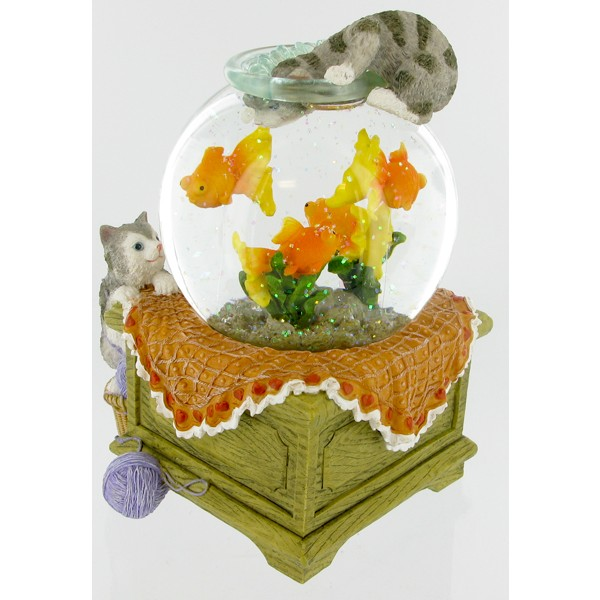 Waterglobe Cats With Fishbowl