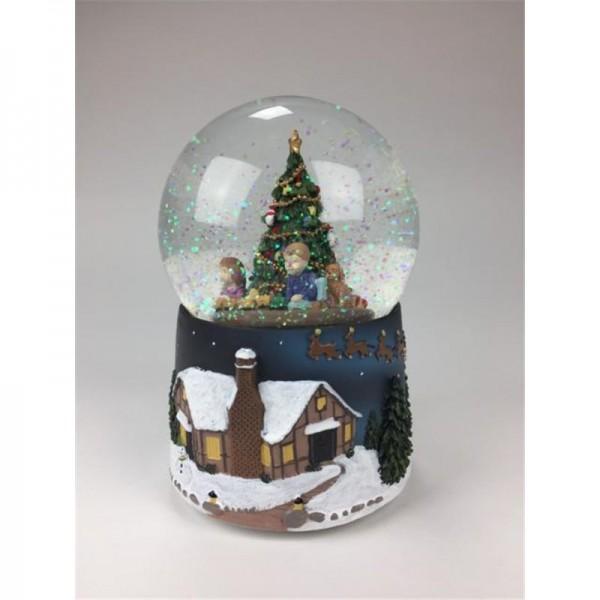 Snow Globe Children Under The Tree