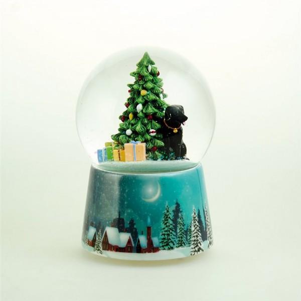 Snow Globe Music Box with a Black Labrador
