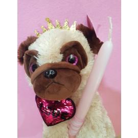 Λαμπάδα Pug Σκυλάκι Sequin