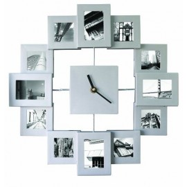 Photo Frame Clock Family Time Silver
