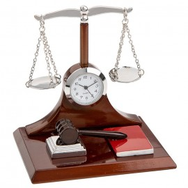 Techno Scales Of Justice Clock