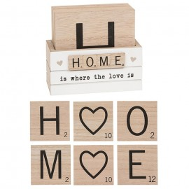 Home Set of 6 Scrabble Coasters With Holder