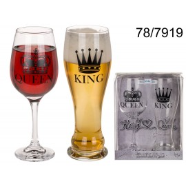 Drinking Glass Set King for Beer & Queen for Wine