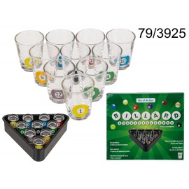Pool Shots Billiard  Shot Glasses - Set of 9 with Serving Tray