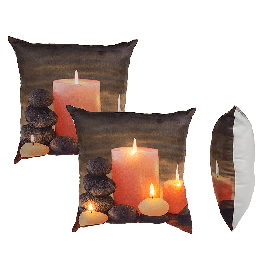 Creme coloured Cushion, Candles with Led