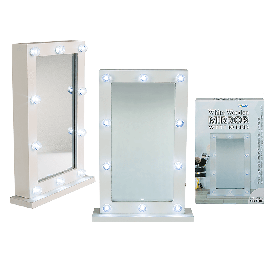 White Wooden Mirror with 10 Leds