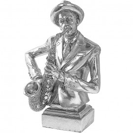 Silver Art Jazz Man Guitar- Saxophone