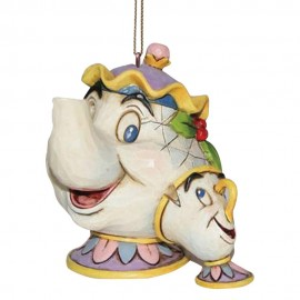 Lumiere, Cogsworth, Mrs Potts & Chip Hanging Ornaments- Jim Shore