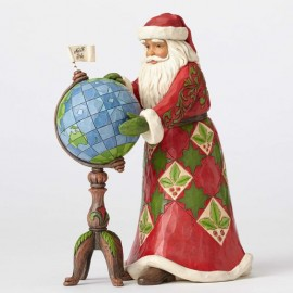 Joy Is In The Journey-Santa With Globe Figurine