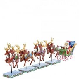 Mini Santa in Sleigh with Reindeers-Dash away all- Jim Shore