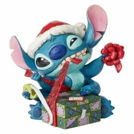 Bad Wrap Stitch with Santa Hat Figurine