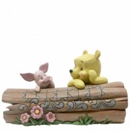 Truncated Conversation (Pooh and Piglet on a Log Figurine) Disney Jim Shore