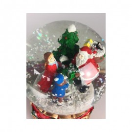 Snow Globe Santa with Kids in the Forest