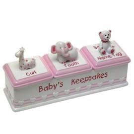 Baby Girl Triple Keepsafe Box