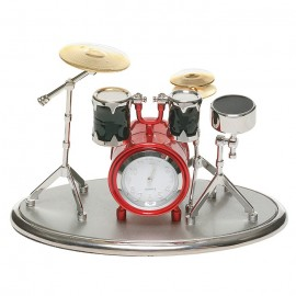 Silver & Red Drum Kit Clock