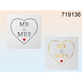 Wooden Sign With Led Mr & Mrs