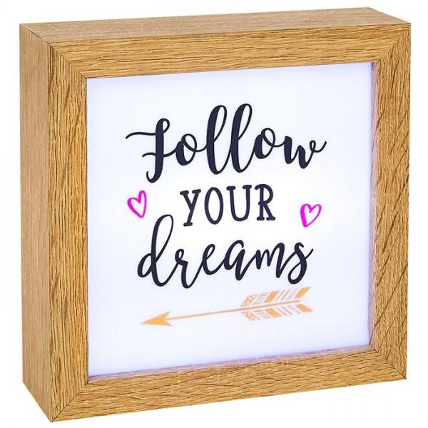 """Φωτιζόμενο με Led Πινακάκι """"Follow your Dreams"""""""