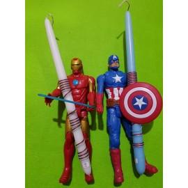 Λαμπάδα Ironman Captain America Φιγούρα