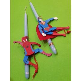 Λαμπάδα Spiderman Superman Ξύλινη Μαριονέτα