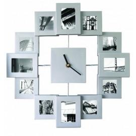 Ρολόι Τοίχου Με Κορνίζες Για Φωτογραφίες Ασημένιο
