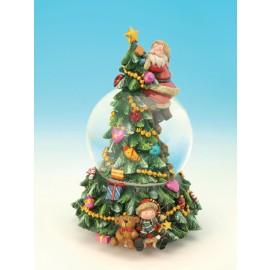 Χιονόμπαλα Με Άγιο Βασίλη Που Στολίζει Το Δέντρο