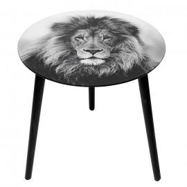 Τραπέζι Γυάλινο με Φιγούρα Λιονταριού