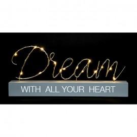 Ξύλινη Επιγραφή Επιτραπέζια με Φωτάκια Led 'Dream', 'Friends', 'Smile'