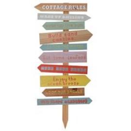 Πλακάτ Ξύλινο Cottage Rules
