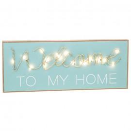 """Ξύλινη Πινακίδα με Led """"Welcome to My Home"""""""