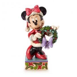 Jim Shore Disney- Χριστουγεννιάτικο Αγαλματίδιο Με Τη Minnie