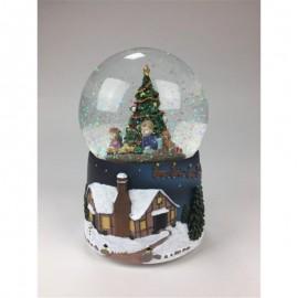 Χιονόμπαλα με Παιδάκια Κάτω από το Χριστουγεννιάτικο Δέντρο