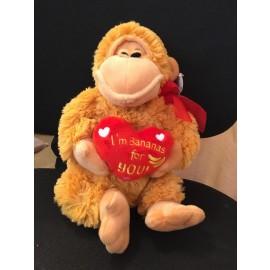 """Γορίλας Λούτρινο Με Καρδιά """" I 'm Bananas For You """""""