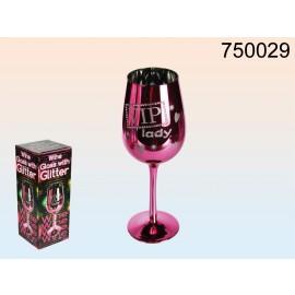 Ροζ Ποτήρι Κρασιού VIP Lady