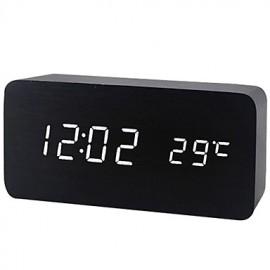 Ξύλινο Ψηφιακό Ρολόι Ξυπνητήρι- Θερμόμετρο