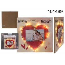 """Πινακίδα με Κόκκινη Καρδιά   & Led """" Πάντα στην Καρδιά Μου """""""