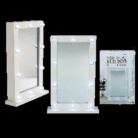 Ξύλινος Λευκός Καθρέφτης με 10 Leds
