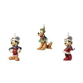 Μίκυ, Μίνυ, Πλούτο, Ζαχαροπασπαλισμένα Στολίδια Δέντρου Jim Shore